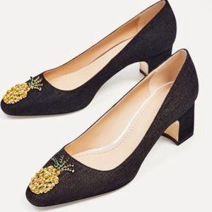 ZARA Woman Pineapple Gem Detail Denim Heels 41